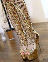 yüksek topuklu dans ayakkabıları toptan satış-Altın Parlak Deri petaloit Cut Out Lace Up Sandalet Cizme Bayan Platformu İnce Yüksek Topuklar Diz Boots Yaz Sahne Dans Ayakkabıları