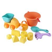 pala plástica de playa al por mayor-Juego de juguetes 11-en-1 de arena para la playa Juego de palas de agua Regadera Niños Seguridad Juguetes de plástico blando - Color al azar