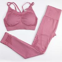 ingrosso set reggiseno rosa-Set da yoga senza cuciture Set da palestra da 2 pezzi Abbigliamento da allenamento per donna Abbigliamento sportivo Abbigliamento sportivo Reggiseno sportivo e leggings Set Abbigliamento sportivo