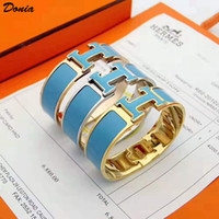 Wholesale gold plated enamel bangle resale online - Donia jewelry love home mm Colorful Enamel plating exaggerated titanium steel European and American popular adjustable opening Bracelet