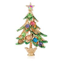eski pin toptan satış-Noel ağacı elmas broş pins kadınlar için elmas rhinestones broşlar kız Lüks pin takı 4 renkler Antik altın antik gümüş