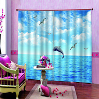 Wholesale 90 inch shower curtain resale online - Polyester Blue sky Jumping Dolphin Shower Curtains For Bathroom Decor Modern Dolphin Haiou Blackout curtains