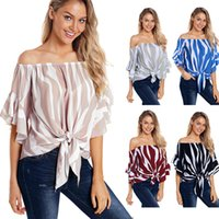 Wholesale bell suppliers for sale - Group buy Europeam Women Off shoulder Top knot Stripe Blouse half Flare sleeve Hot selling China women clothing supplier