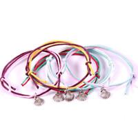 ingrosso cavi di bracciale in argento-Bracciale smerlato Bracciale in argento a forma di conchiglia regolabile Bracciale a doppio filo in fibra intrecciata moda Bracciale con ciondoli di moda per donna