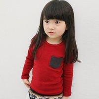 babyhemd basic großhandel-Frühling Herbst Baby Kleidung Mädchen Jungen T-Shirt Langarm Baumwolle Oansatz T Shirts Kinder Kleidung Basic Pocket Tops