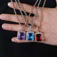 bunte edelsteine halsketten großhandel-Hip Hop vereist Edelstein Anhänger Halsketten für Männer Frauen Luxus Designer bunten Edelstein Bling Diamant Anhänger Rubin lila blau schwarz Halskette