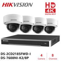 sistema de vigilância completo venda por atacado-Hik 8ch Sistema de Câmera de Segurança CCTV NVR DS-7608NI-K2 / 8 P DS-2CD2185FWD-I 4 Dome Kits de Câmera de Rede IR Fixo NVR Kits 4 K