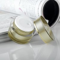 acryl-kosmetik-gläser für cremes großhandel-5g / 10g Goldene Slanting Runde Acrylsahneglas Behälter Kleine Leere Probe Cosmetic Pot, Gold Augencreme Kosmetik Verpackung