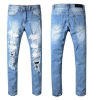 Wholesale jeans jumpsuit fashion for sale - Group buy Mens Designer Pants Skinny Ripped Hip Hop Fashion Pants Cool Mens Designer Jeans Jumpsuit Mens Jeans