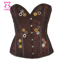 9a7554aeb9 Brown Brocade With Gear Steampunk Steel Boned Corset Overbust Vintage Gothic  Clothing Korsett For Women Sexy Burlesque Costume