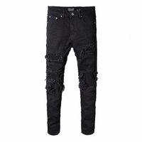 ingrosso abbigliamento biker all'ingrosso-Miri ingrosso-rappresenti i pantaloni del progettista dell'abbigliamento hanno distrutto i jeans strappati degli uomini magri del biker diritto del denim sottile degli uomini