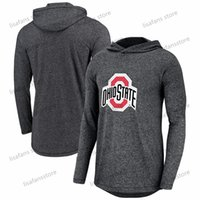 black college hoodies 2021 - Mens Ohio State Buckeyes Black Marled Long Sleeve Hoodie T-Shirt Performance Top Tee Printed Team Color College T-Shirts size S-4XL