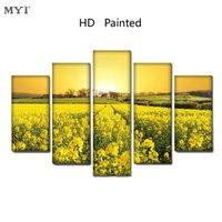spray lackierungen großhandel-Schöne Gelbe blume meer landschaft HD spray Gedruckt Ölgemälde auf leinwand wohnkultur für Wohnzimmer wandkunst bild auf Leinwand kein gestaltet