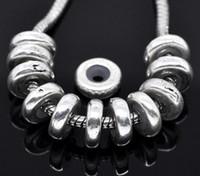 ingrosso bug fiore-Trasporto libero 40pcs d'argento antichi Tappi di tono W / Beads in gomma Adatto braccialetto europeo fascino risultati 11x3.5mm monili