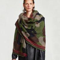 bufanda de pashmina al por mayor-Moda Hombres Mujeres Unisex Invierno Cálido Suave Cabo Chal Camo Pashmina Bufanda 80 * 190