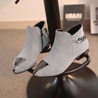 şirin topuk çizmeleri toptan satış-Kadın Kadın Chunky Topuklar Patik Kürk Peluş Taban Botines Kış Ayakkabı için Sıcak Satış-Sevimli Zapatos Mujer Sivri Burun Bilek Boots