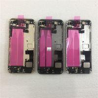 cubierta de la cubierta de la parte posterior del iphone 5s al por mayor-JIEPEI para iPhone 5 5G 5S Parte posterior Chasis de marco medio Conjunto de carcasa completa Tapa de la batería Puerta trasera con cable flexible