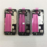 châssis iphone 5s achat en gros de-JIEPEI pour iPhone 5, 5G, 5S, arrière, cadre central, boîtier complet, couvercle du compartiment de la batterie, porte arrière avec câble Flex