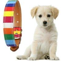 ingrosso collari per animali domestici arcobaleno-Collare per cani Rainbow Pet Collare regolabile per tinta unita in pelle per cani di grandi dimensioni