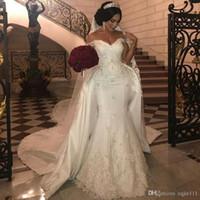 robes de mariée en marbre sirène achat en gros de-Robes de mariée en dentelle de perles élégantes avec détachable train hors épaule sirène robes de mariée appliques robe de mariée en satin ivoire 268