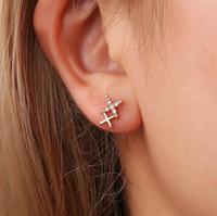joyas de barrena al por mayor-Creative Double X Set Auger Letter Ear Studs Mujeres Niñas Pendientes de moda Crystal Rhinestone Jewelry Accesory