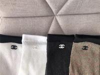 frauen seide socken großhandel-Marke Dame Short Socks Silk Sexy Strumpf Fuß Brief Stickerei Körpersocken Für Frauen 4 Farben