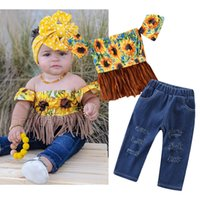 Wholesale kids jeans set fashion for sale - Group buy kids outfits clothes girls summer fashion flower one shoulder tassel shirt hole jeans two piece matching set baby tracksuit track suits