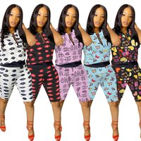 Wholesale sport suits for sale resale online - Women Lips Printing Summer Shorts Set For Women Two Piece Set Short Sleeves T shirt Shorts Sport Suit Tracksuit Sportswear SALE D61507