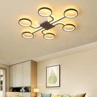 Wholesale art paintings brown resale online - Creative geometric art led ceiling lamp for living room bedroom study balcony remote control dimming modern ceiling lights