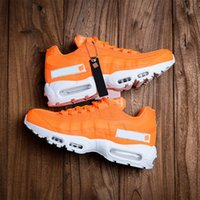 Wholesale cushioned running shoes online - Brand New OG Mens Designer Shoes s Men Women Running Shoes Orange White Cushion Sports Sneakers Size