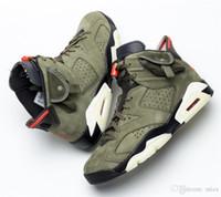 los zapatos de baloncesto brillan en verde al por mayor-Lo mejor Auténtico Travis Scott x Air 6 Cactus Jack Oliva Mediano GLOW IN THE DARK Ejército Verde Ante 3M 006jordan Zapatillas de baloncesto CN1084-200