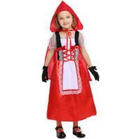 disfraz cosplay rojo para niña. al por mayor-Little Red Riding Hood Disfraz Para Niñas Niños Fantasia Fiesta de Halloween Purim Cosplay Elegante Vestido con Capucha + Guantes Cosplay