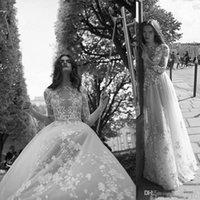 brauthals blume großhandel-2019 Liz Martinez Illusion böhmischen Brautkleider High Neck Tüll Blumen Blume Langarm Brautkleid