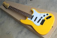 Wholesale guitars st yellow resale online - ST electric guitar dark yellow body rosewood fingerboard single pickup factory direct sales