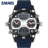 Wholesale three dial mens watch for sale - Group buy Big Dial Watches Casual Alloy Quartz watch Three Time Display Analog Digital Mens Wristwatch Sports Waterproof relogio