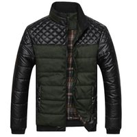 herren jacken rock groihandel-Herren Jacken Cotton Oberbekleidung Drop Winter Frühling Thick Herren Jacken und Mäntel Pu Patchwork Designer Mode