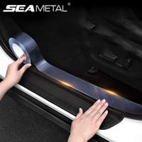 3m karbon sarma toptan satış-Karbon Elyaf Wrap 5D Araba Kapı Koruyucu 3M Car Kapı Sills Koruma Karbon Elyaf Vinil Film Oto Tampon Çıkartmaları Şekillendirme