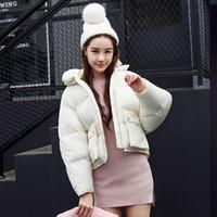 casacos curtos bonitos venda por atacado-Moda Inverno Mulheres Jaquetas Solto Design Curto Bonito Algodão Acolchoado Casacos Rosa Causual Quente Regular Hoodies Acolchoados Parkas Casaco Feminino