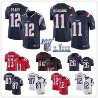 t-shirt de tom brady venda por atacado-de Nova Men 12 Tom Brady Camisa 87 Rob Gronkowski Patriot 26 Sony Michel 11 Julian Edelman camisas de futebol americano
