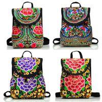 pfingstrosenstickerei großhandel-Vintage Floral Pfingstrose Stickerei Ethnische Leinwand Rucksack Frauen Handgemachte Reisetaschen Schultasche Rucksäcke Rucksack Mochila # 226925