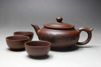 yiping töpfe großhandel-Kung Fu Teeservice Yixing Teekanne Handgemachtes Teekannen-Tassenset 400ml Zisha Keramik Chinese Tea Ceremony Geschenk BONUS 3 CUPS 50ml