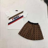 ropa para niños al por mayor-NUEVO 2019 Niños Niñas 2 unids conjuntos Jumper tops Camisetas + faldas con volantes de niña de moda de verano al por mayor ropa