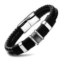 chaîne d'identité des hommes achat en gros de-Bracelets 2019 Mode Large Mens Armure Chaîne Bracelet En Acier Inoxydable Bracelet En Cuir Pour Hommes Classique Bracelets Bracelet Bijoux