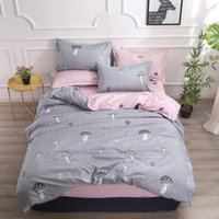 Wholesale black grey yellow bedding for sale - Group buy 2019 Grey Mushrooms Pink Bedding Sets Microfiber Brush Polyester Bedlinens Twin Full Queen King Duvet Cover Set Pillowcases