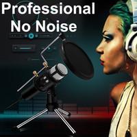 usb mikrofon dizüstü toptan satış-Bilgisayar Dizüstü PC USB Tak Profesyonel Mikrofon Kondenser + Stüdyo Podcasting Kayıt mikrofonun Karaoke Mic Standı