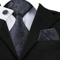 галстучные запонки оптовых-Hi-Tie Paisley Jacquare Woven Silk Mens Ties Set Black Necktie Pocket Square Cufflinks Set for Men Fromal Dress Gravata SN-1494