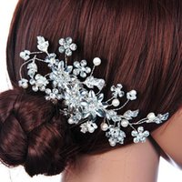 Wholesale bridal combs resale online - European classic water drill hair combs handmade Pearl hair combs bridal Pearl headwear wedding accessories gifts to relatives