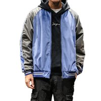 homens uniformes japoneses venda por atacado-Men Blue Bomber Jacket Velvet japonesa Street Style Japão Brasão Hip Hop Baseball Uniform Jacket Juventude Casacos Homme Vintage