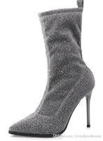 Großhandel 2018 Schwarz Glänzende Pailletten Glitter Rote Untere Stiefeletten Ankle Schuhe 100 MM High Heels Stiefel Moulakate Paillette Stiefeletten