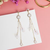 корейская японская мода оптовых-Fashion Japanese Korean Full Rhinestone Exaggerated Long Tassel Water Drop Earrings for Women New Pearl Pendant Jewelry EC1700